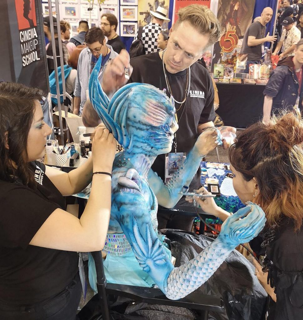 "Apple Love and her team applying the makeup for   ""Blue Sea Dragon"" at Wondercon 2019"
